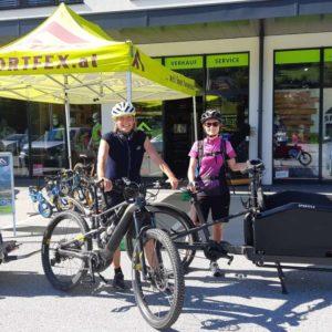 Lastenrad mit E-Antrieb zur Verfügung gestellt von der Firma Sportfex in St. Michael/L.